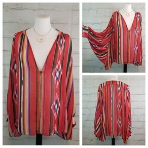 Audrey 3+1 M Mexican Blanket Print Batwing Blouse